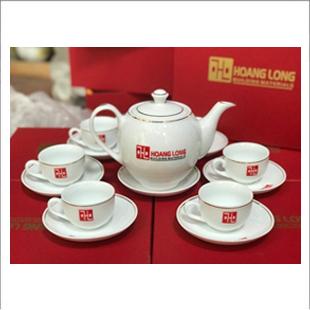 Bộ ấm trà cao cấp chỉ vàng in logo_0+